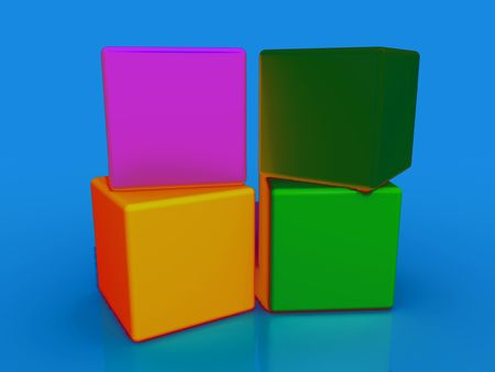 boxs: four colored cubes Stock Photo