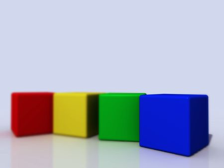four colored cubes in a row Stock Photo - 1354550