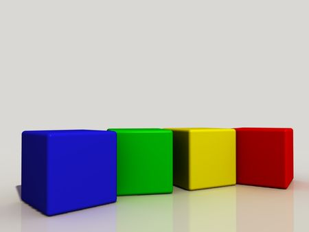 boxs: four colored cubes in a row
