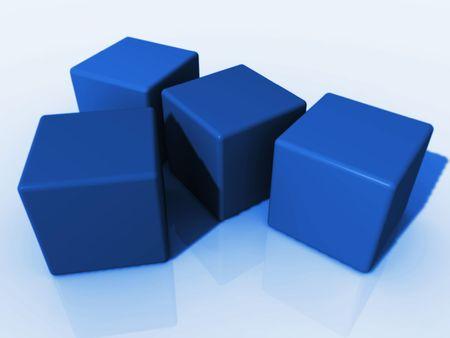 four blue cubes Stock Photo - 1354553