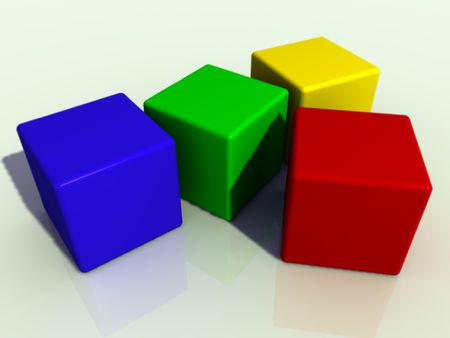 four colored cubes Stock Photo - 1354552
