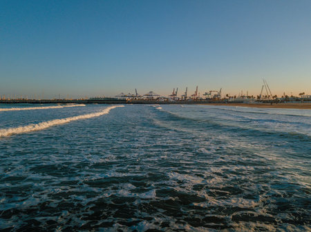 Views from drone during sunset on beach Malvarrosa in Valencia Stock Photo