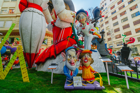 Falla in city centre during national Festival of Fallas. Valencia, Spain, March 16, 2018 Editorial