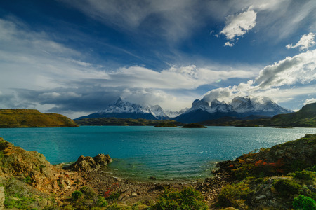 View of Torres Mountains in the Torres del Peine National Park during sunrise. Autumn in Patagonia, the Chilean side Banque d'images