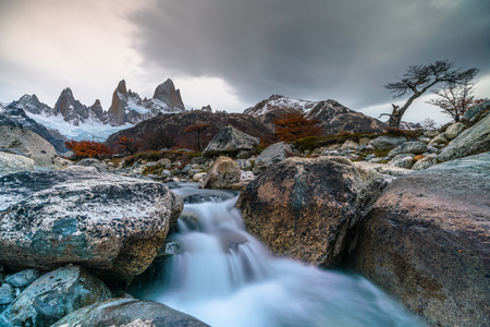 View of Mount Fitzroy during sunset. Argentine Patagonia in Autumn