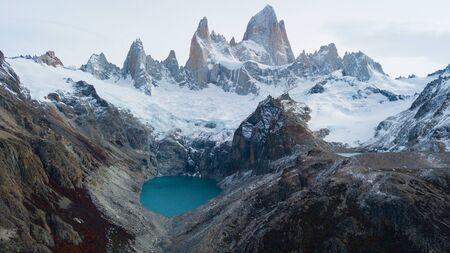 Aerial view of the mountains and Fitz Roy Peak in Los Glaciares National Park. Argentina Autumn.