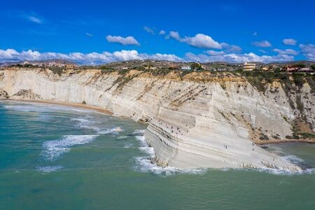 Aerial view of the rock Scala dei Turchi on the island of Sicily. Autumn in Italy