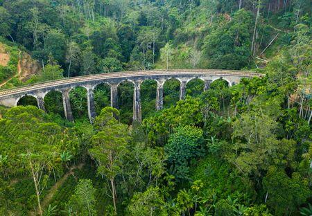 Aerial view of Nine Arch Bridge on Sri Lanka.