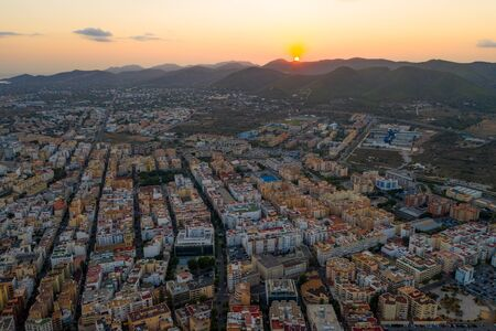 Aerial view of the old city on the island of Ibiza during sunset 스톡 콘텐츠 - 133470469
