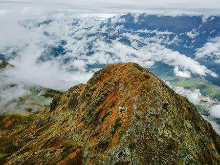 Aerial view of the autumn mountains in the ski resort of Rosa Khutor. Sochi and Krasnaya Polyana.