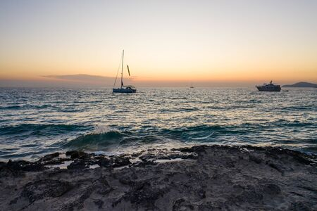 Aerial view of Formentera island during sunset 版權商用圖片