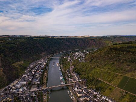 Aerial view of Moselle River. Germany in the summer