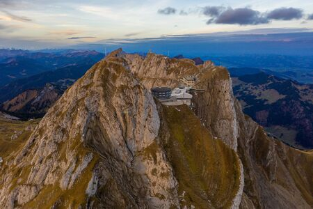 Aerial view of Mount Pilatus during sunrise. Autumn Switzerland.