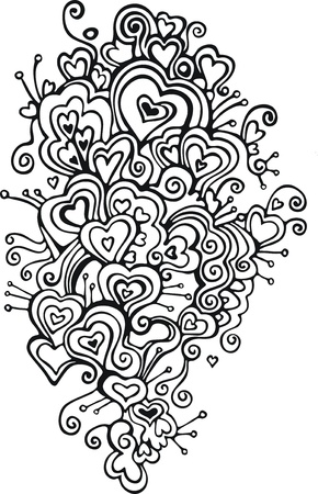 black and white lace hearts Vector