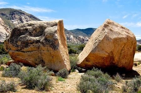boulder rock: Large boulder broken in half Stock Photo