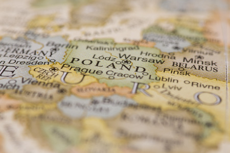 Macro of Poland on a globe, narrow depth of field