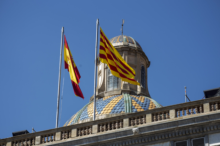generalitat: Catalonia Flags flying on top of Palau de la Generalitat , the seat of the Catalan government building