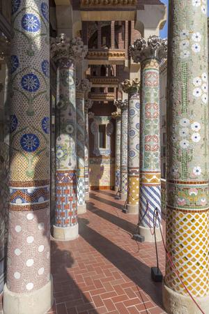 modernisme: Balcony of Palau de la Musica Catalana Stock Photo