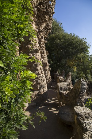 viaducts: Stone Viaducts carrying snaking paths, Park Guell, Barcelona, Spain Stock Photo