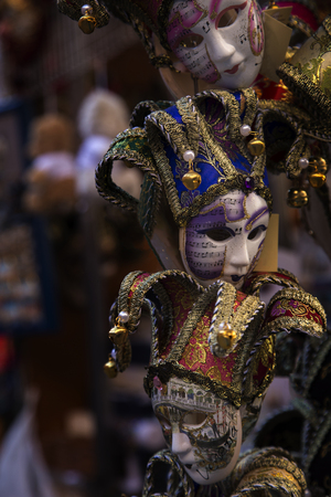 the merchant of venice: Venice, Italy - February 6, 2016: Venetian Masks on sale on a market stand during Venice Carnival. Authorities have increased surveillance throughout the city but rejected a proposal to ban revellers from wearing masks.