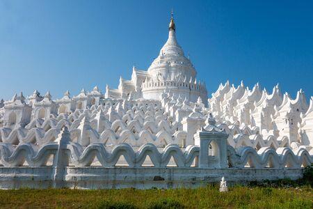 Hsinbyume Pagoda, a whitewashed, circular Buddhist temple in Mingun township near Mandalay in Myanmar (formerly Burma)