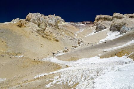 Snow and ice formations, known as Los Penitentes, block the high altitude road to the abandoned sulfur mine of Mina Julia, in the high Andean puna desert of Salta province in Argentina 免版税图像