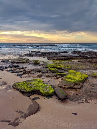 Sunrise on a rugged, rocky and sandy beach with green algae-covered stones on the Great Ocean Road at Sugarloaf, near Apollo Bay in Victoria, Australia Foto de archivo