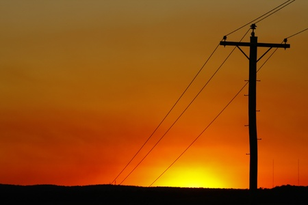 sun setting behind powerlines photo