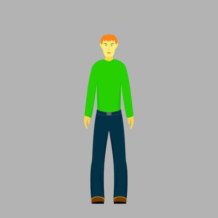 A red-haired young man in a green sweater, jeans and boots Çizim