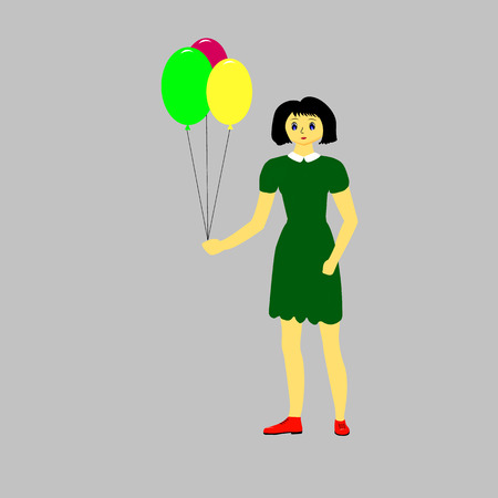 multi coloured: Girl in green dress with multi coloured balloons Illustration