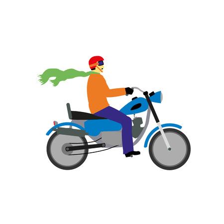 casco rojo: Un motorista con un casco rojo y azul bici Vectores