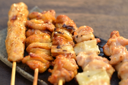 broiled: Char-broiled chicken  Yakitori