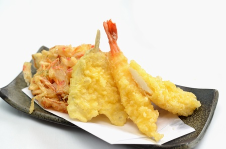 pinches: tempura  This ia a picture of Tempura  That is traditional dishes in Japan