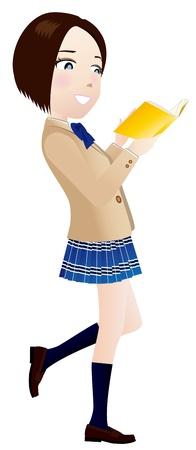 school girl uniform: Una ragazza del liceo che legge un libro