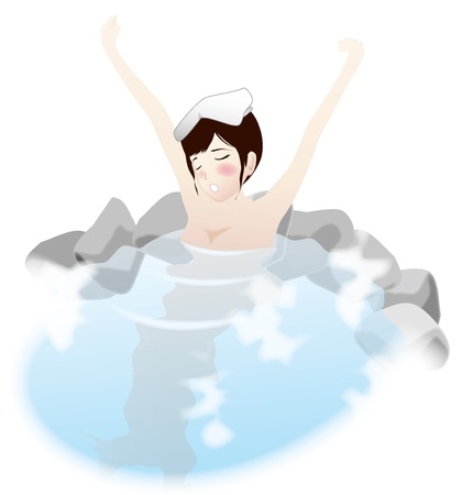 bash: Hot spring  A woman taking a bash  Illustration