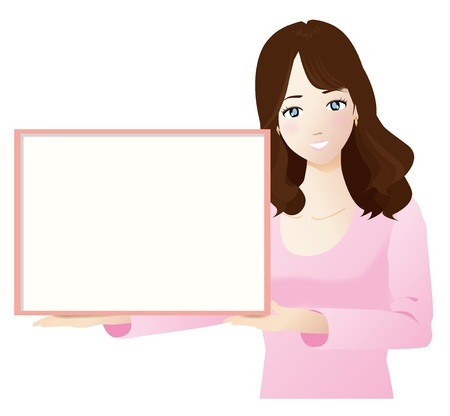 A woman wiht a white board Vector