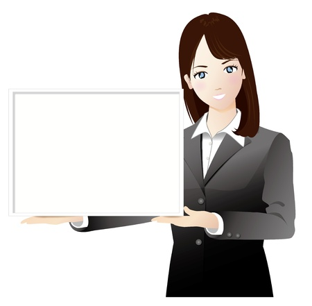 neatness: A woman wiht a white board Illustration