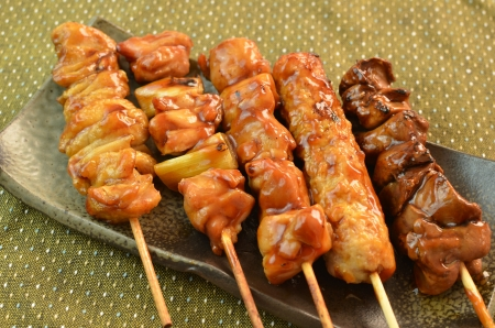 Char-broiled chicken called yakitori 스톡 콘텐츠