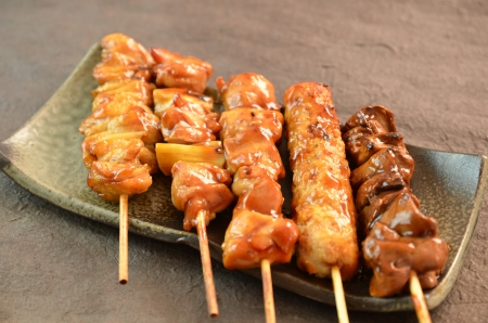 meat skewers: Char-broiled chicken called yakitori Stock Photo