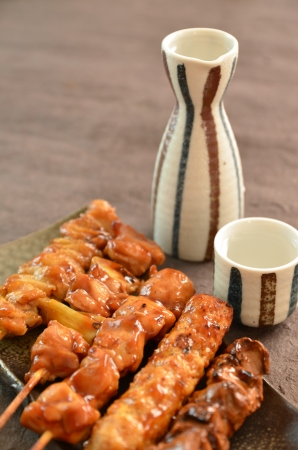 Poulet grill� appel� Char-yakitori Banque d'images
