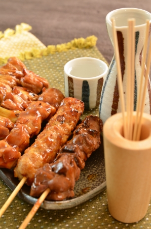 Char-broiled chicken called yakitori Stock Photo
