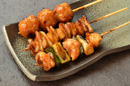 Char-broiled chicken called yakitori Stock Photo