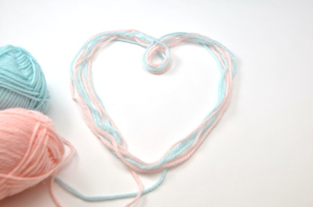 Heart made of woolen yarn Stock Photo - 18240343