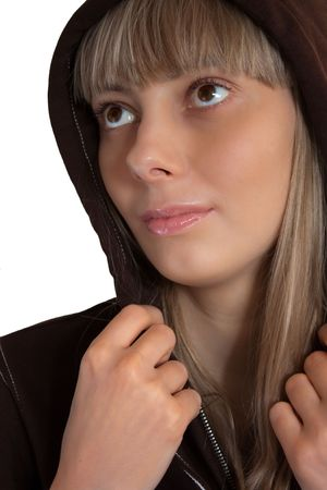 close up photo of the beautiful happy girl wearing hood Stock Photo - 5157305