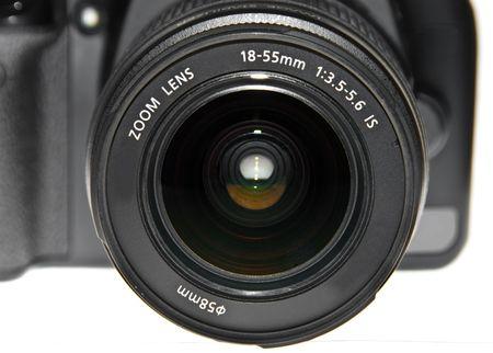eos: Dslr camera lens close up view Stock Photo