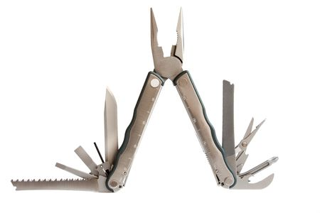 photo of  fully unfolded leatherman multitool  isolated on white background Stock Photo - 5163117