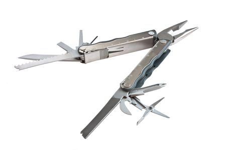 photo of  fully unfolded leatherman multitool  isolated on white background photo