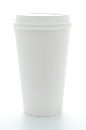 plastic cup: paper coffee cup with plastic top isolated on white background Stock Photo