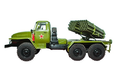 russian grad mobile rocket launcher isolated on white photo