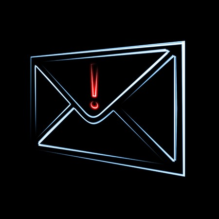 arrived: important or dangerous email message has arrived symbol of envelope and exclamation sign on black background